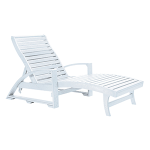 St. Tropez Chaise Lounge w/wheels -White