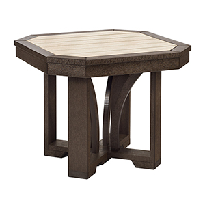 St. Tropez Chocolate and Beige 25-Inch Square End Table
