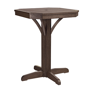 St Tropez 28-inch Square Counter Pedestal Table -Chocolate