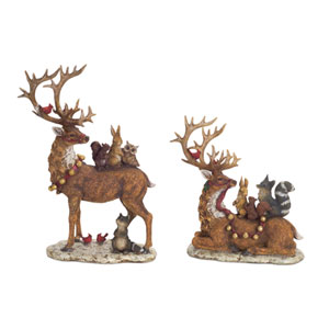 Brown 12 and 17-Inch Deer Figurine with Woodland Friends, Set of 2