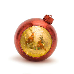 Red 6-Inch Lighted Musical Snow Globe Cardinals Ornament