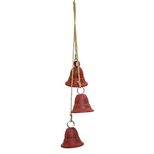 Red and Brown 15-Inch Three Bells on Rope, Set of 2