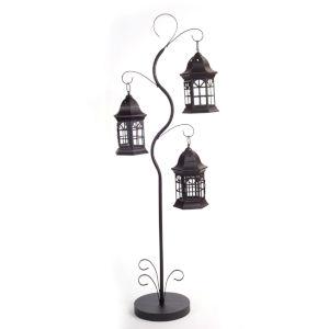 Black 10-Inch Triple Lantern Tree