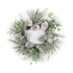 Green and White 27-Inch Pine and Eucalyptus Wreath
