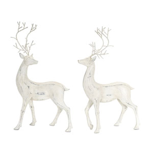 White and Grey 20-Inch Deer Figurine, Set of 2