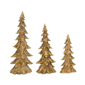 Gold and Brown Poly Stone Tree, Set of 3