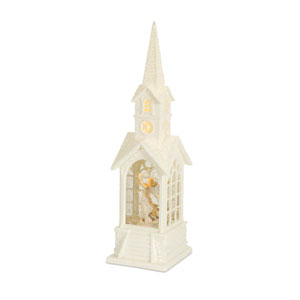 White and Silver 16-Inch Church Snow Globe with Angel