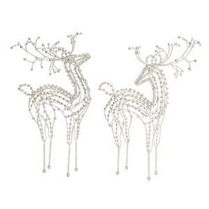 Silver 23-Inch Jewel Deer Figurine