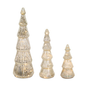Silver and Clear Tabletop Tree, Set of 3