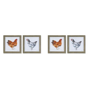 White and Gray 10-Inch Framed Chicken Print Wall Decor, Set of 4