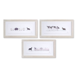 White and Gray Nine-Inch Framed Farm Animal Print Wall Decor, Set of 3