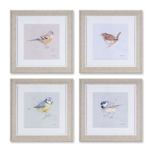 White and Gray 10-Inch Framed Bird Print Wall Decor, Set of 4