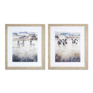 Brown and Black 21-Inch Framed Farm Animal Print Wall Decor, Set of 2