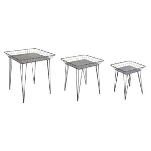 Black and White 25-Inch Tray Table, Set of 3