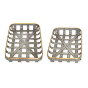 Tin and Gold 12-Inch Woven Tray, Set of 2