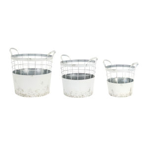 White and Gray 13-Inch Pail Container, Set of 3