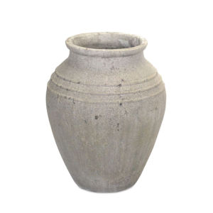 Gray and White 14-Inch Vase