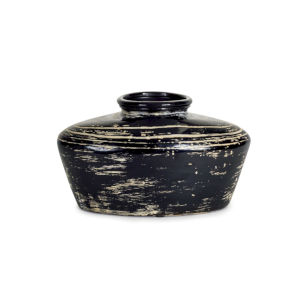 Black and Cream Nine-Inch Vase