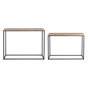 Brown and Black 40-Inch Table, Set of 2