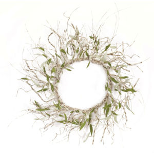 White and Brown Seven-Inch Twig Wreath