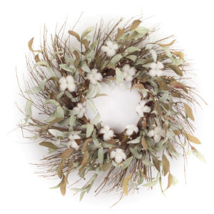 Green and White Nine-Inch Leaf Wreath