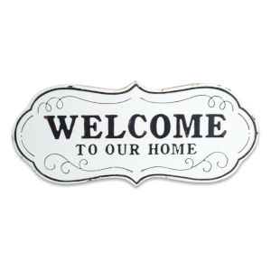 White and Black 12-Inch Welcome To Our Home Plaque