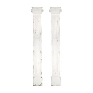 White and Brown 13-Inch Column, Set of 2