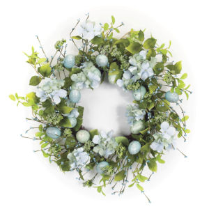 Blue and Green Five-Inch Egg Floral Wreath