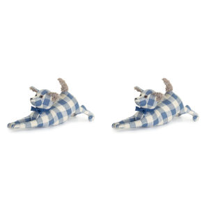 Blue and White 17-Inch Dog Door Stop, Set of 2