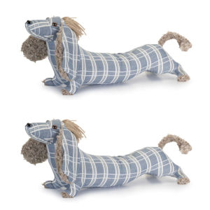 Blue and White 19-Inch Dog Door Stop, Set of 2