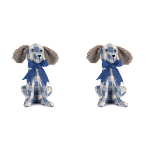 Blue and White 11-Inch Dog Door Stop, Set of 2