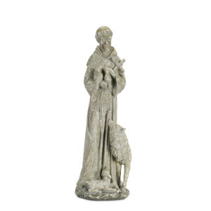 Gray and White Nine-Inch Saint Francis Statue
