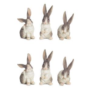 White and Gray Three-Inch Rabbit Figurine, Set of 6