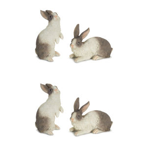 White and Gray Five-Inch Rabbit Figurine, Set of 4