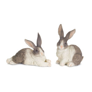 White and Gray Seven-Inch Rabbit Figurine, Set of 2