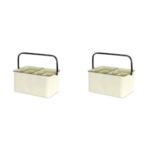 Cream and Black Seven-Inch Containers, Set of 2