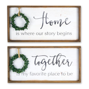 White and Brown 12-Inch Plaque, Set of 2