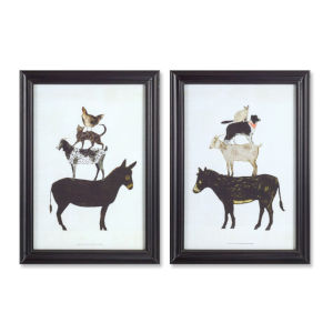 Black and White 16-Inch Framed Donkey Print Wall Decor, Set of 2