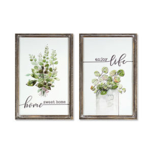 Brown and White 20-Inch Herb Plaque, Set of 2