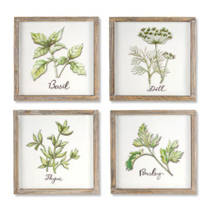Brown and White 12-Inch Herb Plaque, Set of 4