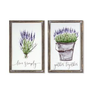 White and Brown 20-Inch Lavender Plaque, Set of 2