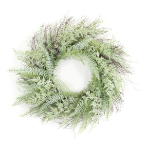 Green and Brown Four-Inch Mixed Fern Wreath