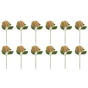 Green and Pink Seven-Inch Hydrangea Stem, Set of 12