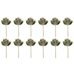Green and Lavender Seven-Inch Hydrangea Stem, Set of 12