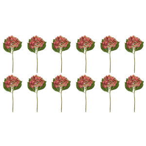 Pink and Green Seven-Inch Hydrangea Stem, Set of 12