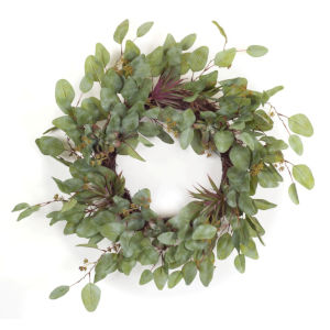 Green and Purple Six-Inch Succulent Wreath