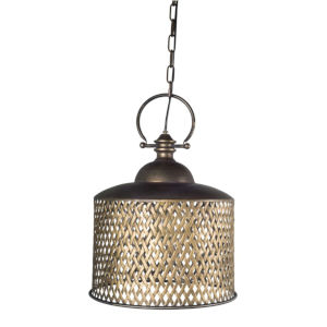 Gold and Brown 15-Inch One-Light Pendant