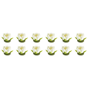 Cream and Green Four-Inch Lotus Sprays, Set of 12