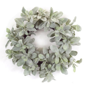 Green and White Six-Inch Lambs Ear Wreath