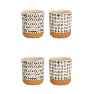 Brown and White Five-Inch Pot Container, Set of 4